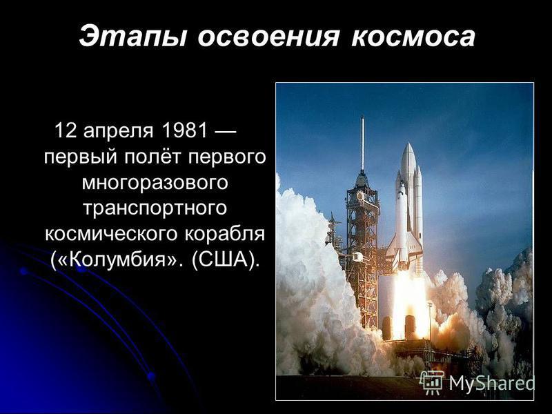 Этапы освоения космоса 12 апреля 1981 первый полёт первого многоразового транспортного космического корабля («Колумбия». (США).