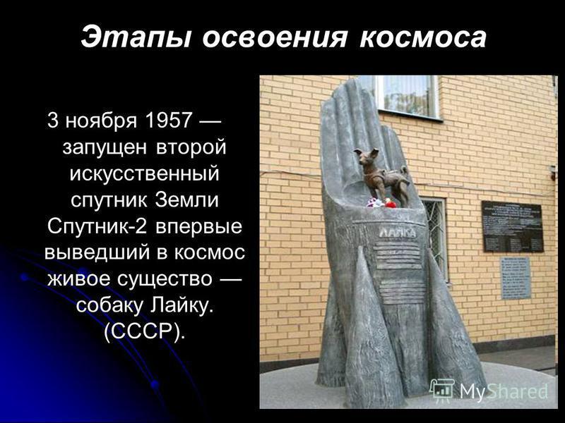 Этапы освоения космоса 3 ноября 1957 запущен второй искусственный спутник Земли Спутник-2 впервые выведший в космос живое существо собаку Лайку. (СССР).