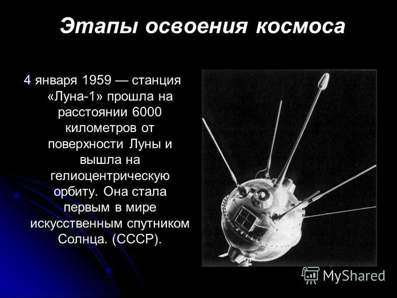 Этапы освоения космоса 4 4 января 1959 станция «Луна-1» прошла на расстоянии 6000 километров от поверхности Луны и вышла на гелиоцентрическую орбиту. Она стала первым в мире искусственным спутником Солнца. (СССР).