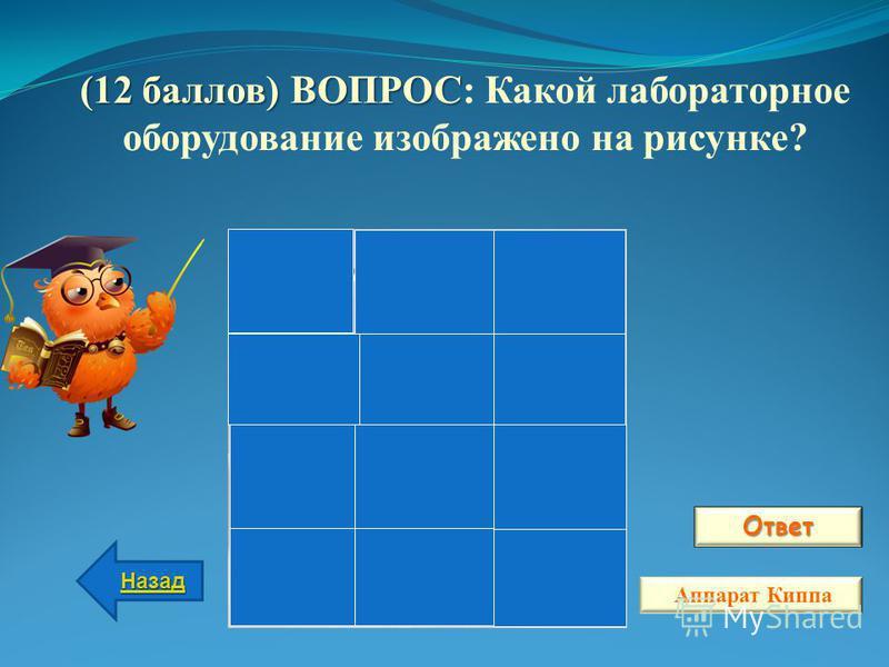 Ответ Назад Аппарат Киппа (12 баллов) ВОПРОС (12 баллов) ВОПРОС: Какой лабораторное оборудование изображено на рисунке?