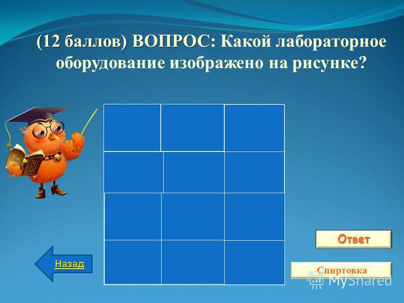 Ответ Назад Спиртовка (12 баллов) ВОПРОС (12 баллов) ВОПРОС: Какой лабораторное оборудование изображено на рисунке?