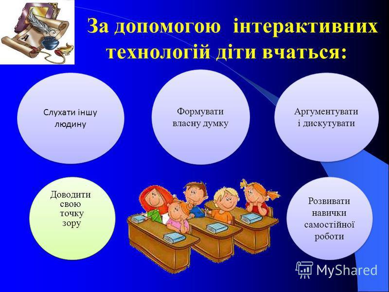 За допомогою інтерактивних технологій діти вчаться: Доводити свою точку зору Доводити свою точку зору Cлухати іншу людину Формувати власну думку Аргументувати і дискутувати Розвивати навички самостійної роботи