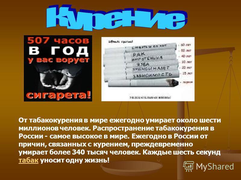 От табакокурения в мире ежегодно умирает около шести миллионов человек. Распространение табакокурения в России - самое высокое в мире. Ежегодно в России от причин, связанных с курением, преждевременно умирает более 340 тысяч человек. Каждые шесть сек