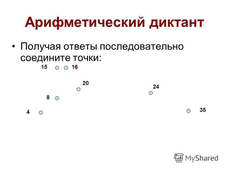Арифметический диктант Получая ответы последовательно соедините точки: 8 4 1516 20 24 35