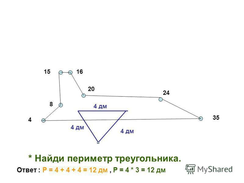8 4 1516 20 24 35 4 дм * Найди периметр треугольника. Ответ : Р = 4 + 4 + 4 = 12 дм, Р = 4 * 3 = 12 дм
