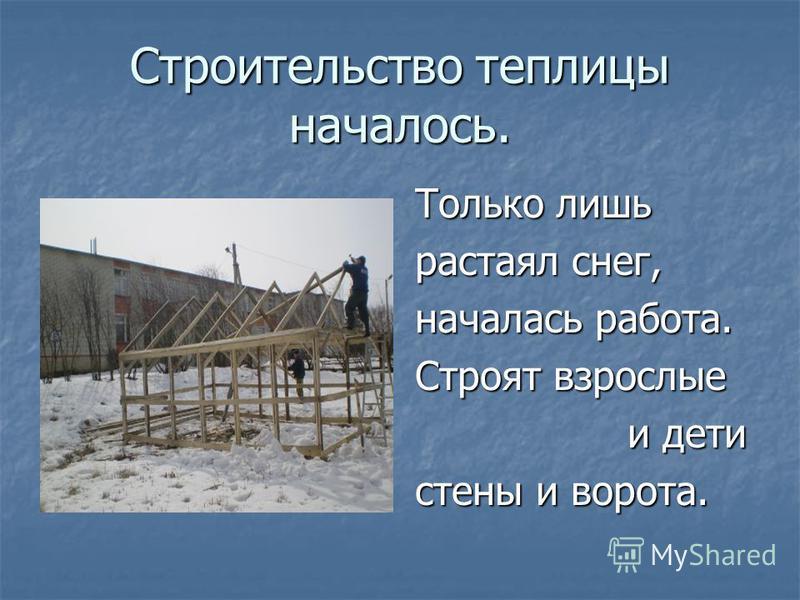 Строительство теплицы началось. Только лишь растаял снег, началась работа. Строят взрослые и дети и дети стены и ворота.