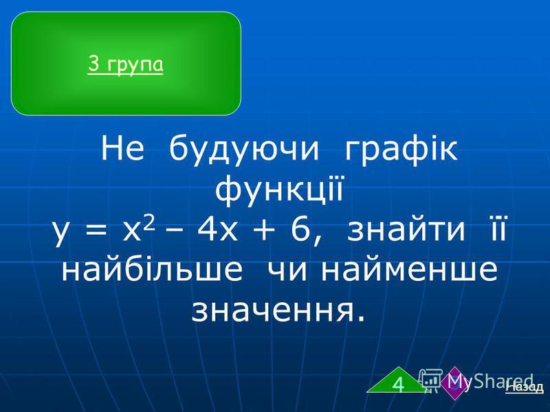 Не будуючи графік функції у = х 2 – 4х + 6, знайти її найбільше чи найменше значення. Назад 4 5 3 група