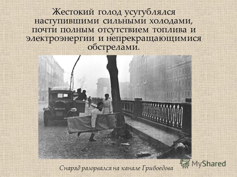 Жестокий голод усугублялся наступившими сильными холодами, почти полным отсутствием топлива и электроэнергии и непрекращающимися обстрелами. Снаряд разорвался на канале Грибоедова
