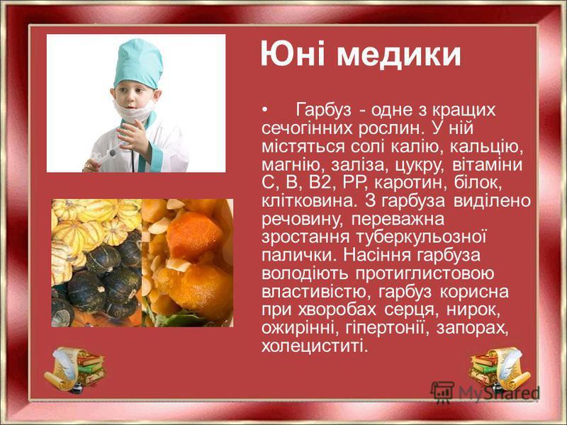 Юні медики Гарбуз - одне з кращих сечогінних рослин. У ній містяться солі калію, кальцію, магнію, заліза, цукру, вітаміни С, В, В2, РР, каротин, білок, клітковина. З гарбуза виділено речовину, переважна зростання туберкульозної палички. Насіння гарбу