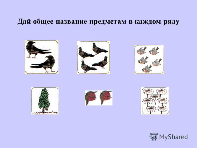 Дай общее название предметам в каждом ряду