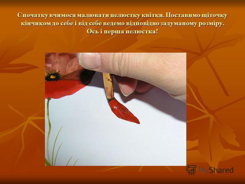 Спочатку вчимося малювати пелюстку квітки. Поставимо щіточку кінчиком до себе і від себе ведемо відповідно задуманому розміру. Ось і перша пелюстка!