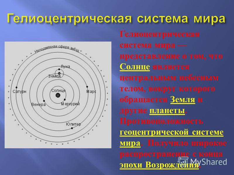 Гелиоцентрическая система мира представление о том, что Солнце является центральным небесным телом, вокруг которого обращается Земля и другие планеты. Противоположность геоцентрической системе мира. Получило широкое распространение с конца эпохи Возр