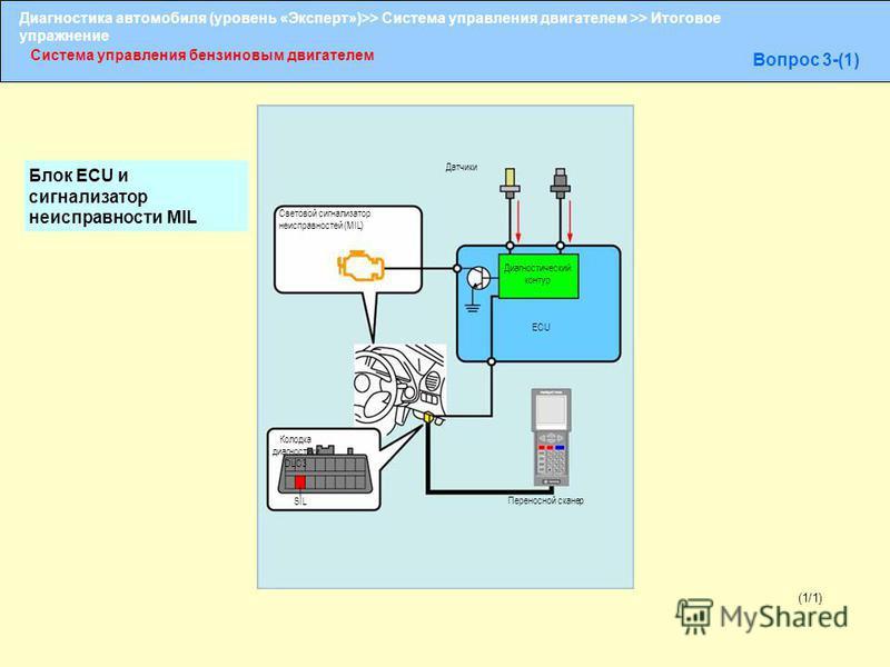 Диагностика автомобиля (уровень «Эксперт»)>> Система управления двигателем >> Итоговое упражнение Система управления бензиновым двигателем Вопрос 3-(1) Световой сигнализатор неисправностей (MIL) Датчики Диагностический контур ECU Колодка диагностики