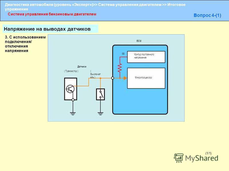 Диагностика автомобиля (уровень «Эксперт»)>> Система управления двигателем >> Итоговое упражнение Система управления бензиновым двигателем Вопрос 4-(1) (1/1) ECU ( Транзистор ) 5В Контур постоянного напряжения Микропроцессор ( Выключат ель ) Датчики