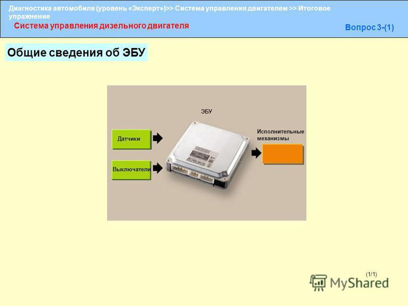 Диагностика автомобиля (уровень «Эксперт»)>> Система управления двигателем >> Итоговое упражнение Система управления дизельного двигателя Вопрос 3-(1) (1/1) Датчики Выключатели ЭБУ Исполнительные механизмы Общие сведения об ЭБУ