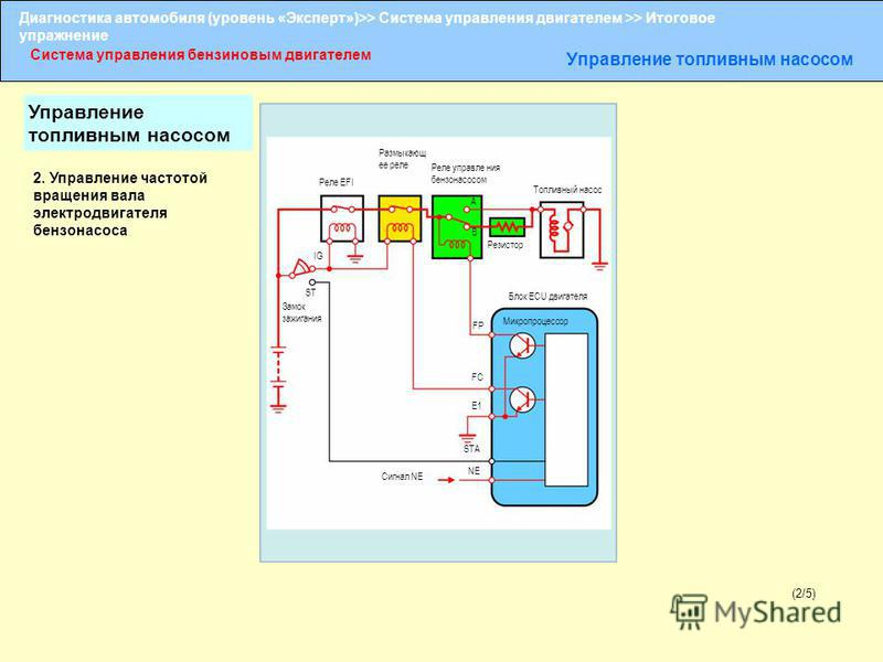 Диагностика автомобиля (уровень «Эксперт»)>> Система управления двигателем >> Итоговое упражнение Система управления бензиновым двигателем Управление топливным насосом (2/5) Размыкающ ее реле Реле EFI Топливный насос IG ST Замок зажигания FC E1 STA N