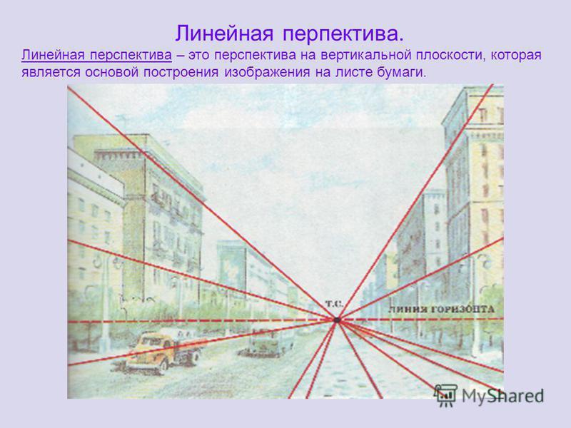 Линейная перспектива. Линейная перспектива – это перспектива на вертикальной плоскости, которая является основой построения изображения на листе бумаги.
