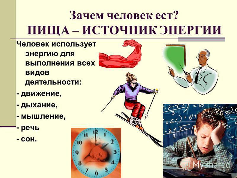 Зачем человек ест? ПИЩА – ИСТОЧНИК ЭНЕРГИИ Человек использует энергию для выполнения всех видов деятельности: - движение, - дыхание, - мышление, - речь - сон.