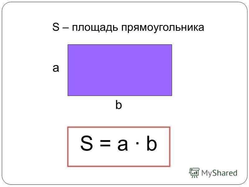 S – площадь прямоугольника S = a · b а b