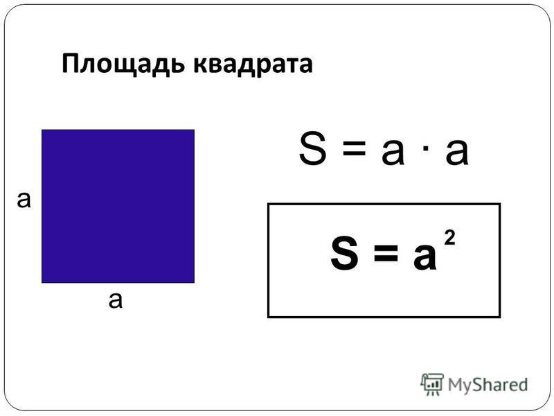 Площадь квадрата S = a · а S = a 2 а а