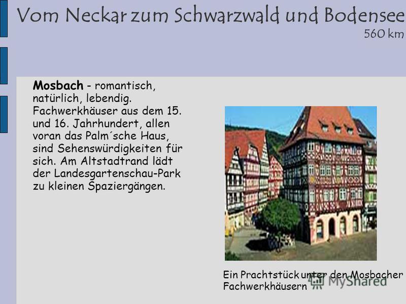 Vom Neckar zum Schwarzwald und Bodensee 560 km Ein Prachtstück unter den Mosbacher Fachwerkhäusern Mosbach - romantisch, natürlich, lebendig. Fachwerkhäuser aus dem 15. und 16. Jahrhundert, allen voran das Palm´sche Haus, sind Sehenswürdigkeiten für