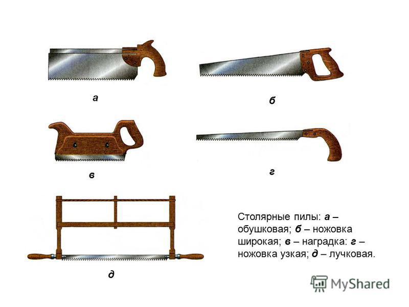 Столярные пилы: а – обушковая; б – ножовка широкая; в – наградка: г – ножовка узкая; д – лучковая. а б в г д