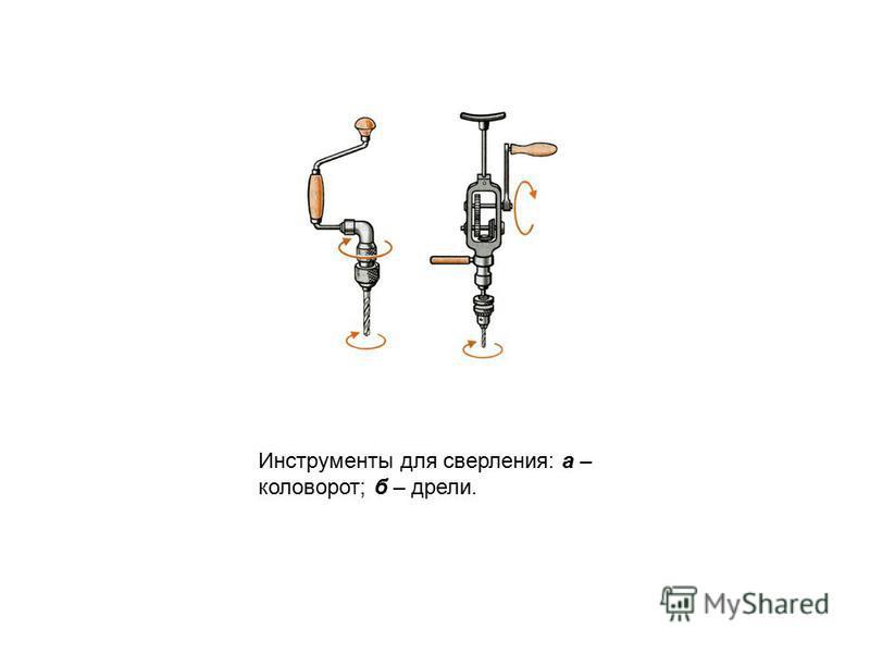 Инструменты для сверления: а – коловорот; б – дрели.