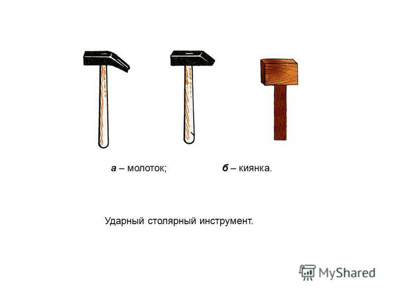 Ударный столярный инструмент. а – молоток; б – киянка.