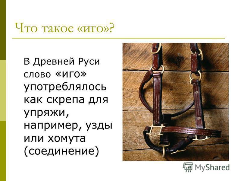 Что такое «иго»? В Древней Руси слово «иго» употреблялось как скрепа для упряжи, например, узды или хомута (соединение)