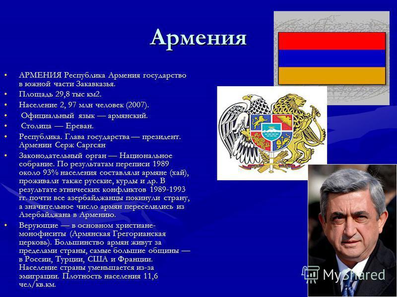 Армения АРМЕНИЯ Республика Армения государство в южной части Закавказья.АРМЕНИЯ Республика Армения государство в южной части Закавказья. Площадь 29,8 тыс км 2. Площадь 29,8 тыс км 2. Население 2, 97 млн человек (2007).Население 2, 97 млн человек (200