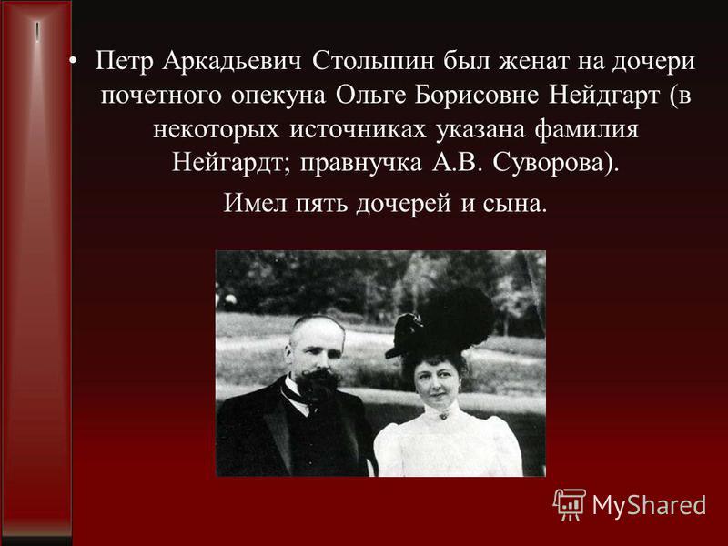 Петр Аркадьевич Столыпин был женат на дочери почетного опекуна Ольге Борисовне Нейдгарт (в некоторых источниках указана фамилия Нейгардт; правнучка А.В. Суворова). Имел пять дочерей и сына.