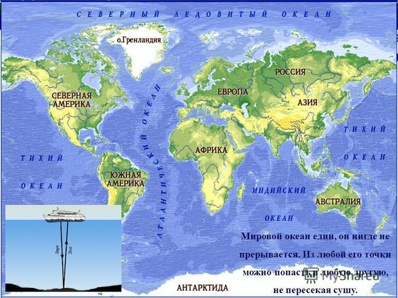 Мировой океан един, он нигде не прерывается. Из любой его точки можно попасть в любую другую, не пересекая сушу.