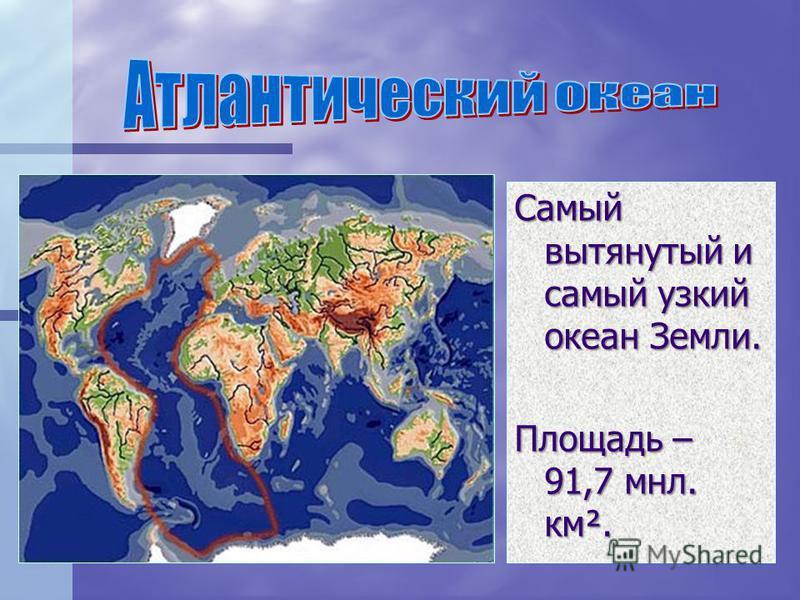 Самый вытянутый и самый узкий океан Земли. Площадь – 91,7 млн. км².