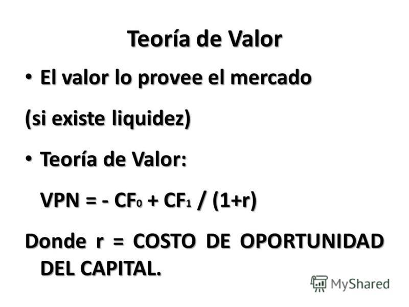 Teoría de Valor El valor lo provee el mercado El valor lo provee el mercado (si existe liquidez) Teoría de Valor: Teoría de Valor: VPN = - CF 0 + CF 1 / (1+r) Donde r = COSTO DE OPORTUNIDAD DEL CAPITAL.