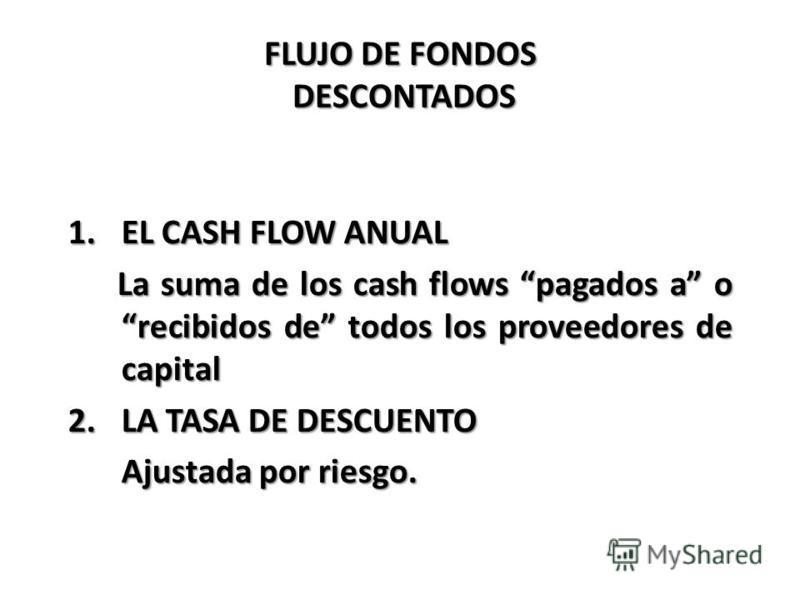 FLUJO DE FONDOS DESCONTADOS 1.EL CASH FLOW ANUAL La suma de los cash flows pagados a o recibidos de todos los proveedores de capital La suma de los cash flows pagados a o recibidos de todos los proveedores de capital 2.LA TASA DE DESCUENTO Ajustada p