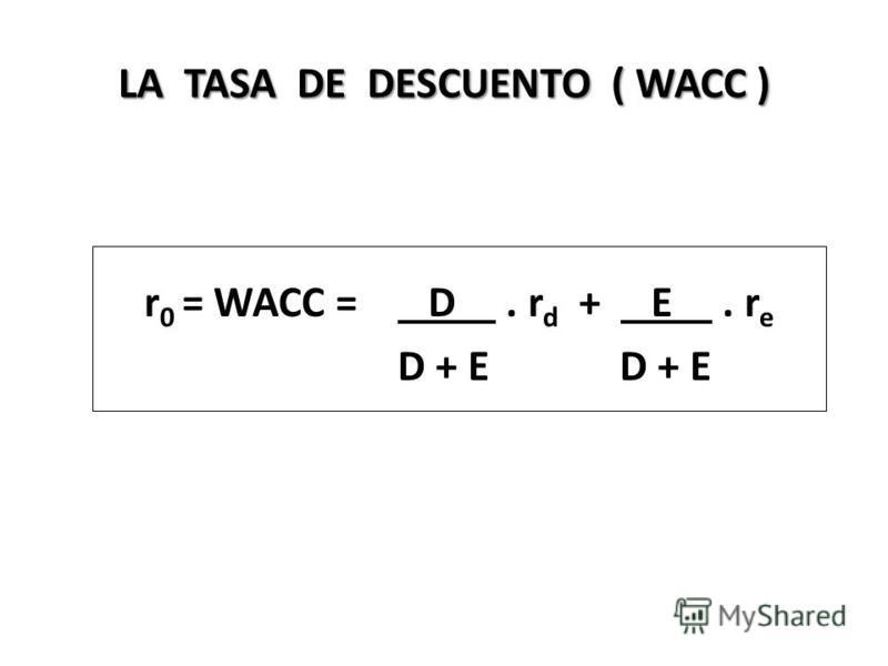 LA TASA DE DESCUENTO ( WACC ) r 0 = WACC = D. r d + E. r e D + E D + E