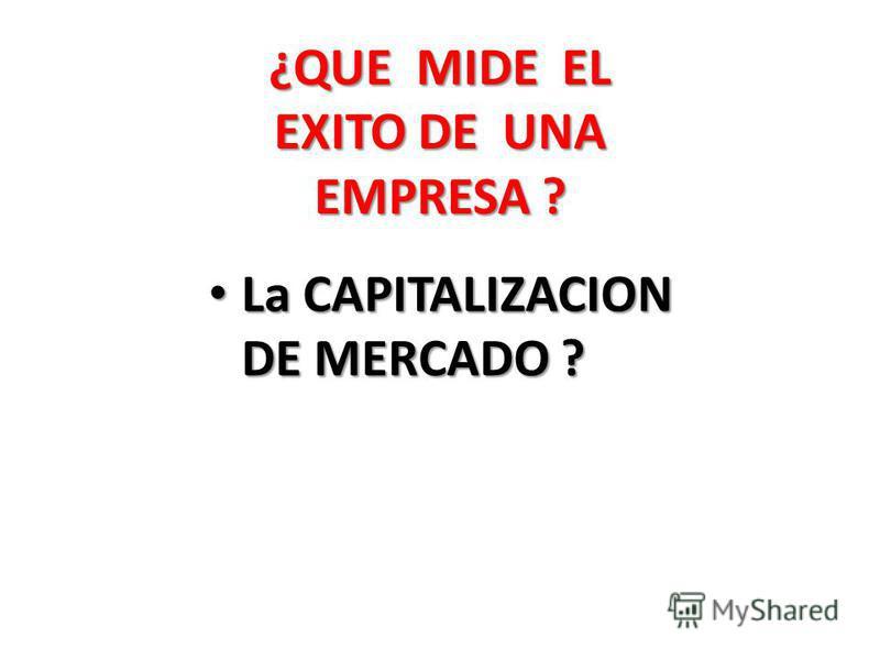 La CAPITALIZACION DE MERCADO ? La CAPITALIZACION DE MERCADO ? ¿QUE MIDE EL EXITO DE UNA EMPRESA ?