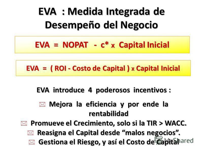 EVA = NOPAT - c* x Capital Inicial EVA : Medida Integrada de Desempeño del Negocio EVA = ( ROI - Costo de Capital ) x Capital Inicial EVA introduce 4 poderosos incentivos : * Mejora la eficiencia y por ende la rentabilidad * Promueve el Crecimiento,