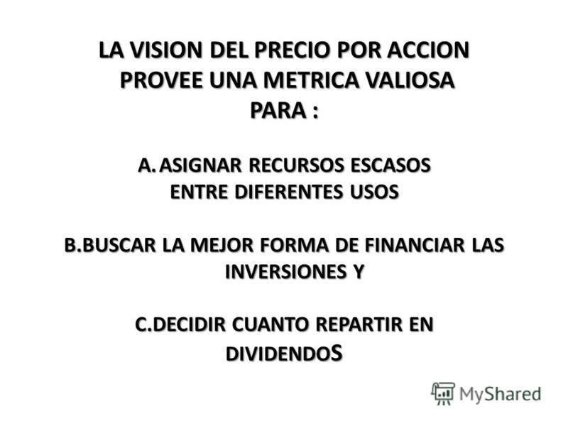 LA VISION DEL PRECIO POR ACCION PROVEE UNA METRICA VALIOSA PROVEE UNA METRICA VALIOSA PARA : A.ASIGNAR RECURSOS ESCASOS ENTRE DIFERENTES USOS B.BUSCAR LA MEJOR FORMA DE FINANCIAR LAS INVERSIONES Y C.DECIDIR CUANTO REPARTIR EN DIVIDENDO S