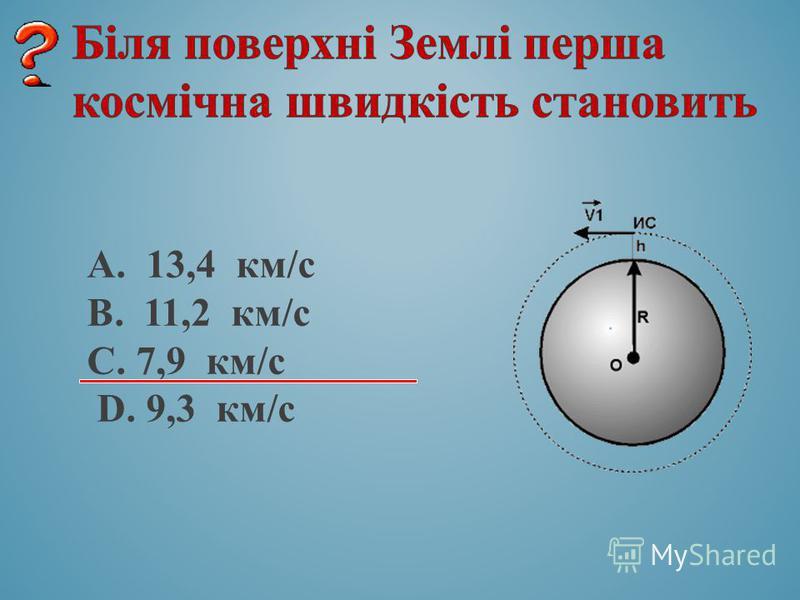 А. 13,4 км/с B. 11,2 км/с C. 7,9 км/с D. 9,3 км/с