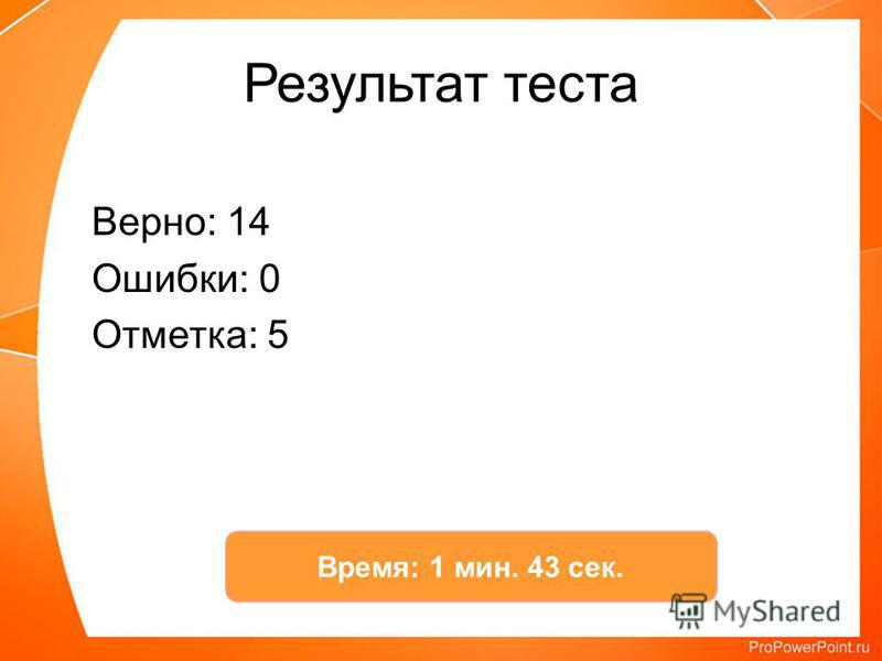 Результат теста Верно: 14 Ошибки: 0 Отметка: 5 Время: 1 мин. 43 сек.