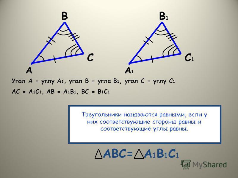 А В С А1А1 В1В1 С1С1 Угол А = углу А 1, угол В = угла В 1, угол С = углу С 1 АС = А 1 С 1, АВ = А 1 В 1, ВС = В 1 С 1 Треугольники называются равными, если у них соответствующие стороны равны и соответствующие углы равны. АВС=А1В1С1А1В1С1