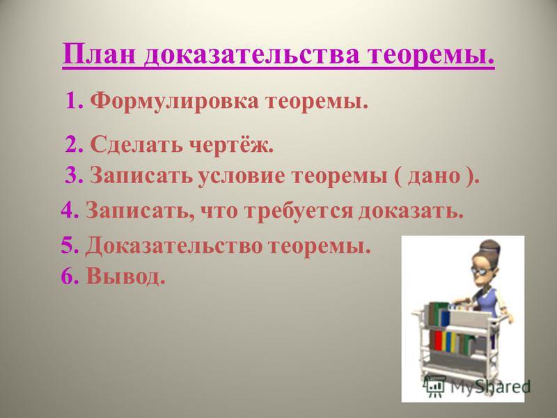 План доказательства теоремы. 1. Формулировка теоремы. 2. Сделать чертёж. 3. Записать условие теоремы ( дано ). 4. Записать, что требуется доказать. 5. Доказательство теоремы. 6. Вывод.