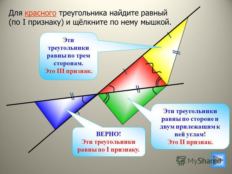 Для красного треугольника найдите равный (по I признаку) и щёлкните по нему мышкой. Эти треугольники равны по стороне и двум прилежащим к ней углам! Это II признак. Эти треугольники равны по трем сторонам. Это III признак. ВЕРНО! Эти треугольники рав
