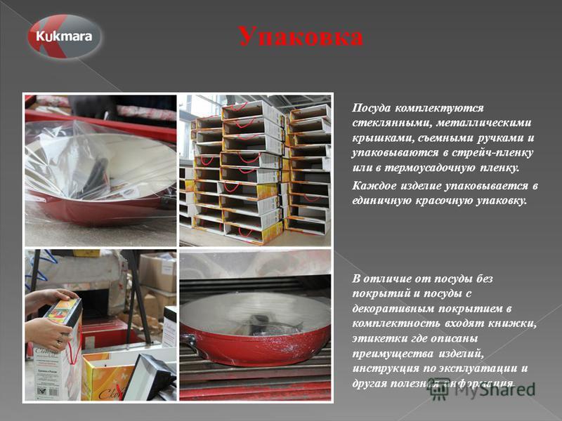 Упаковка Посуда комплектуются стеклянными, металлическими крышками, съемными ручками и упаковываются в стрейч-пленку или в термоусадочную пленку. Каждое изделие упаковывается в единичную красочную упаковку. В отличие от посуды без покрытий и посуды с