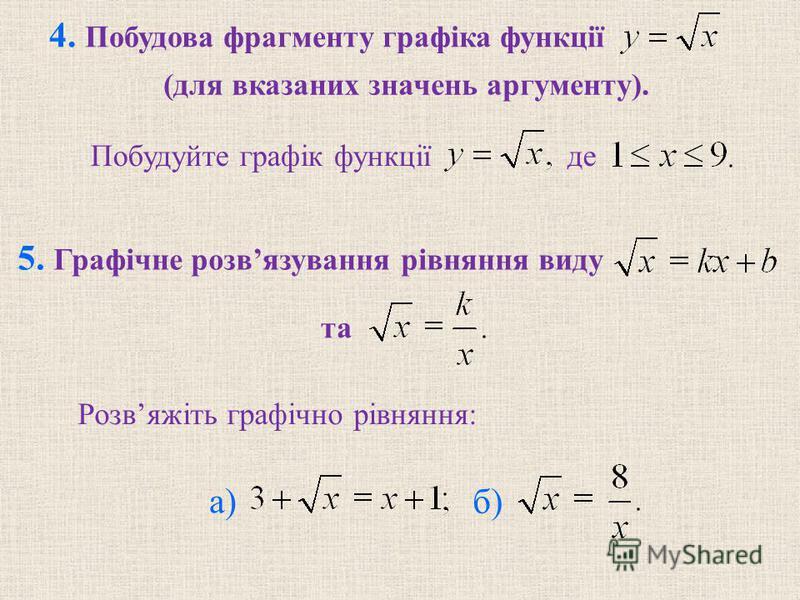 4. Побудова фрагменту графiка функції Побудуйте графiк функції де 5. Графiчне розвязування рiвняння виду та Розвяжiть графiчно рiвняння: б) а) (для вказаних значень аргументу).