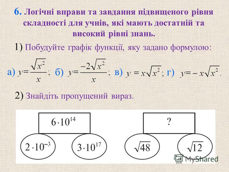 6. Логiчнi вправи та завдання пiдвищеного рiвня складностi для учнiв, якi мають достатнiй та високий рiвнi знань. б) в) г) 2) Знайдiть пропущений вираз. 1) Побудуйте графiк функцiї, яку задано формулою: а)