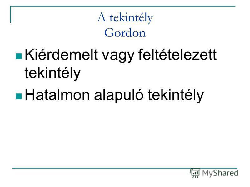 A tekintély Gordon Kiérdemelt vagy feltételezett tekintély Hatalmon alapuló tekintély