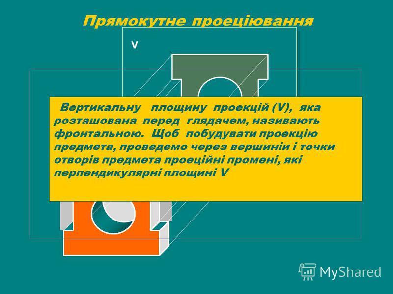 Прямокутне проеціювання V Вертикальну площину проекцій (V), яка розташована перед глядачем, називають фронтальною. Щоб побудувати проекцію предмета, проведемо через вершиніи і точки отворів предмета проеційні промені, які перпендикулярні площині V