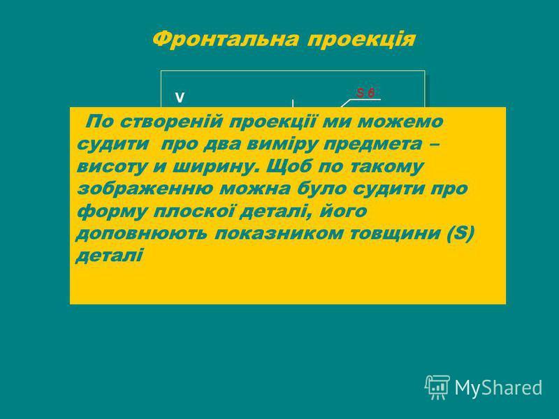 Фронтальна проекція V S 6S 6 По створеній проекції ми можемо судити про два виміру предмета – висоту и ширину. Щоб по такому зображенню можна було судити про форму плоскої деталі, його доповнюють показником товщини (S) деталі